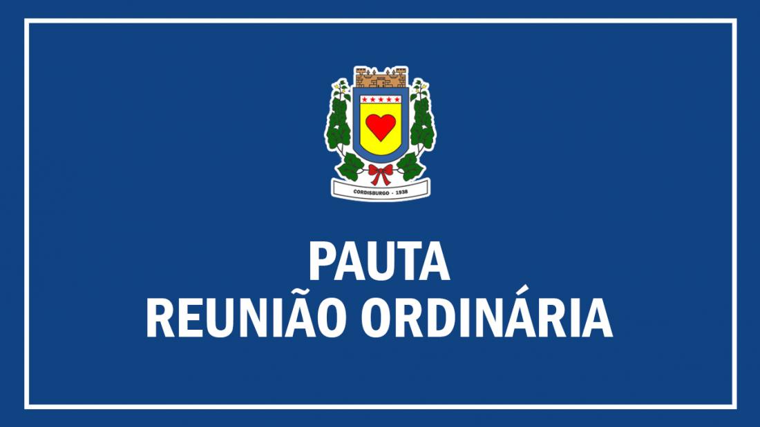 Pauta Reunião Ordinária